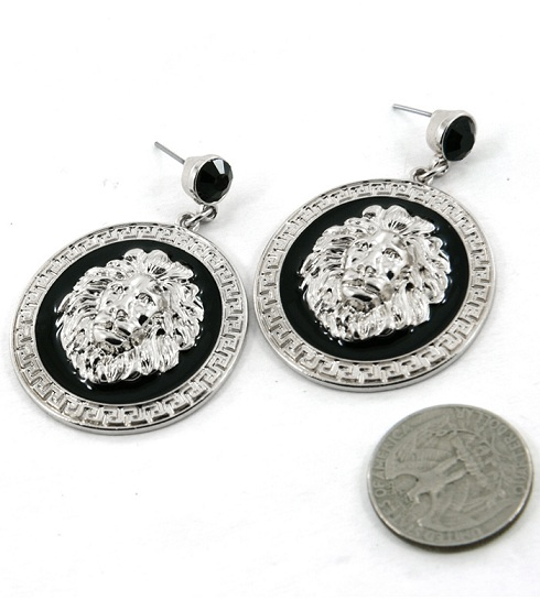 LIONESS EARRINGS - CIRCLE SILVER/BLACK-