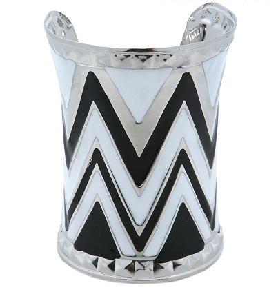 CHEVRON CUFF BANGLE - BLACK/WHITE/SILVER-