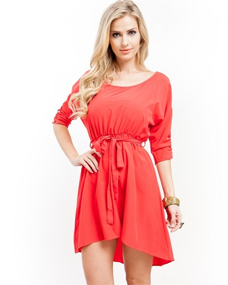 THE CHLOE DRESS - CORAL-