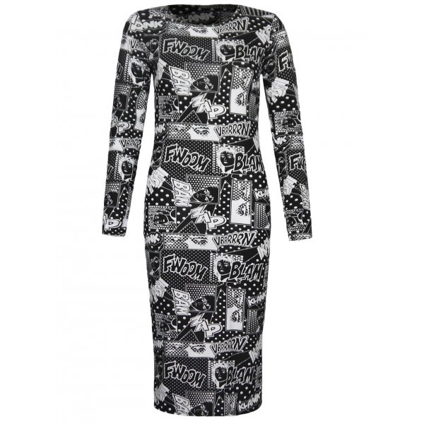 BLACK/WHITE COMIC KNEE LENGTH DRESS-