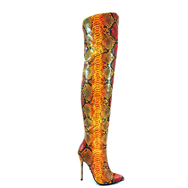 FIERY SNAKEPRINT BOOTS - ORANGE-