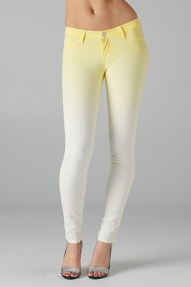 FADE TO WHITE JEANS - YELLOW-