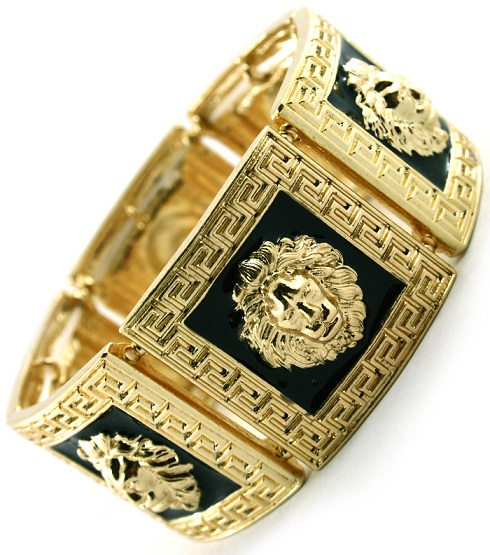 SQUARE GOLD/BLACK LIONESS BRACELET-
