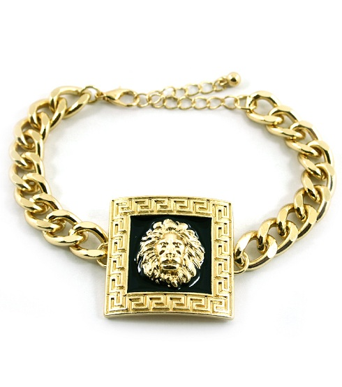 SQUARE GOLD/BLACK LIONESS CHAINLINK BRACELET-