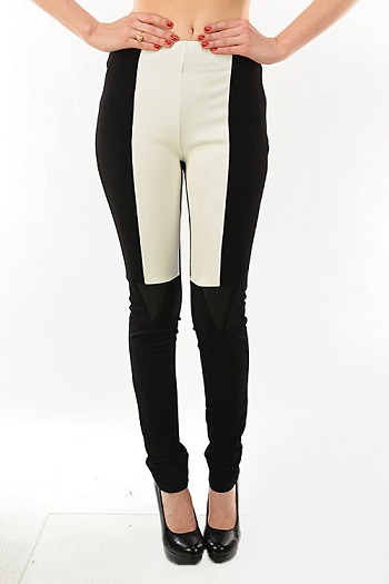 HIGH WAIST COLOR BLOCK JEGGINGS - BLACK/OFF-WHITE-