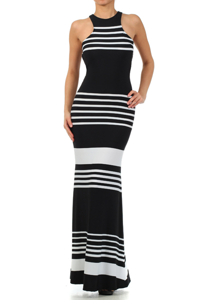DAWN MONOCHROME MAXI DRESS-