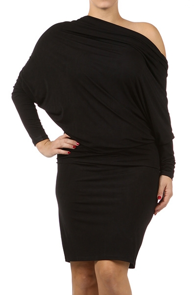 JESSICA DRAPED DRESS - BLACK - PLUS SIZE-