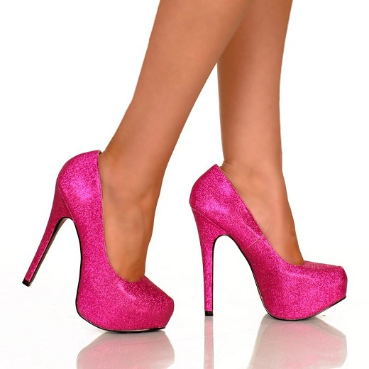 KISS GLITTER PUMPS - PINK-
