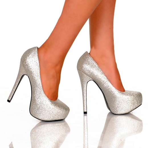 KISS GLITTER PUMPS - SILVER-