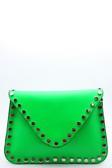NEON ENVELOPE CLUTCH - GREEN-