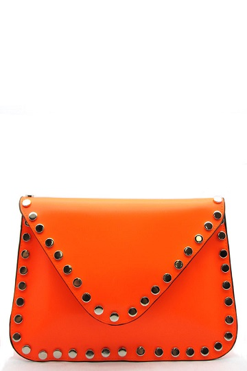 NEON ENVELOPE CLUTCH - ORANGE-