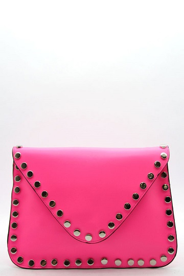 NEON ENVELOPE CLUTCH - PINK-