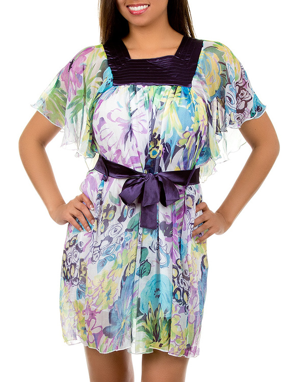 PURPLE CHIFFON PRINT DRESS-purple, dress, summer, print