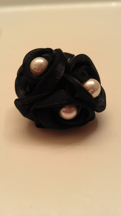BLACK PEARL SATIN RING-black, pearl, ring, satin