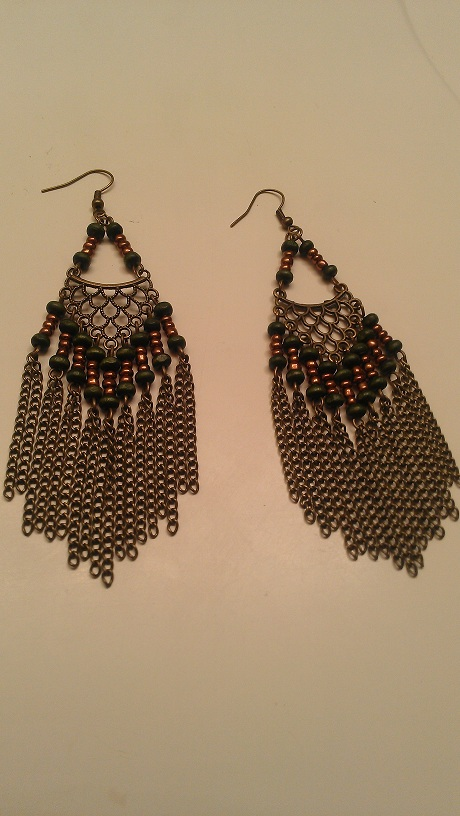 JASPER EARRINGS-HANGING, ARMY GREEN, EARRING