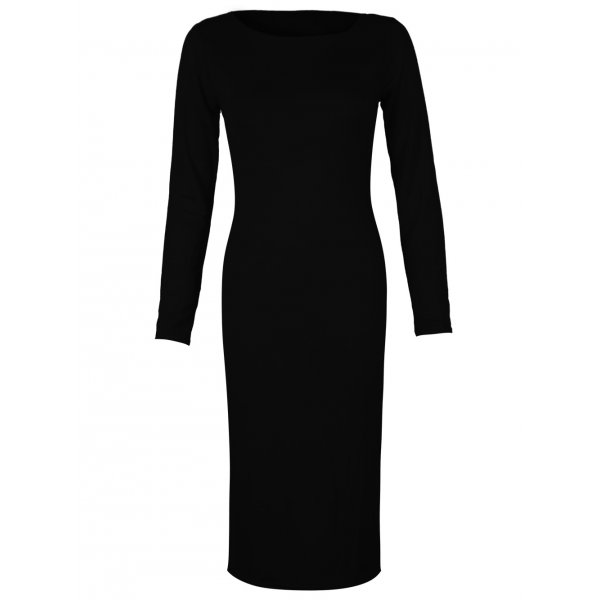 PLAIN JANE KNEE LENGTH DRESS - BLACK-