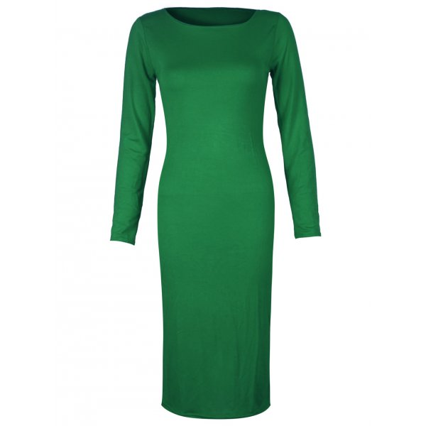 PLAIN JANE KNEE LENGTH DRESS - GREEN-