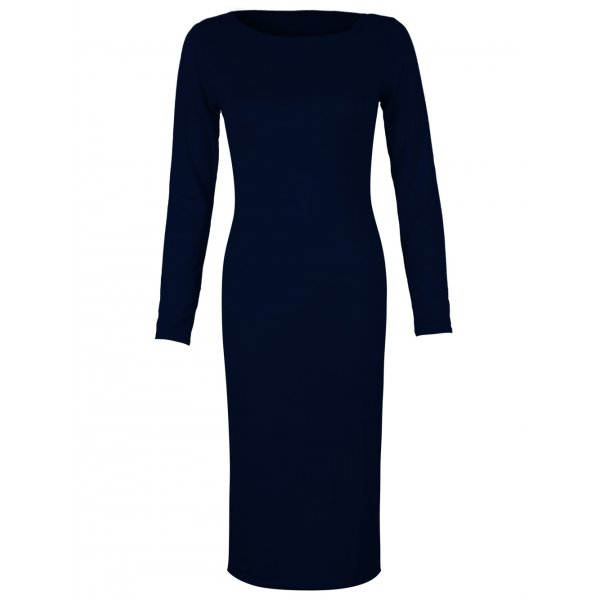 PLAIN JANE KNEE LENGTH DRESS - NAVY-