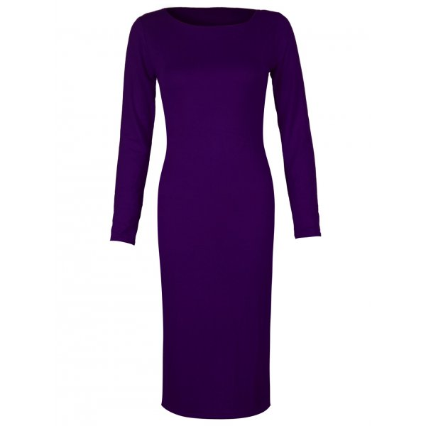 PLAIN JANE KNEE LENGTH DRESS - PURPLE-