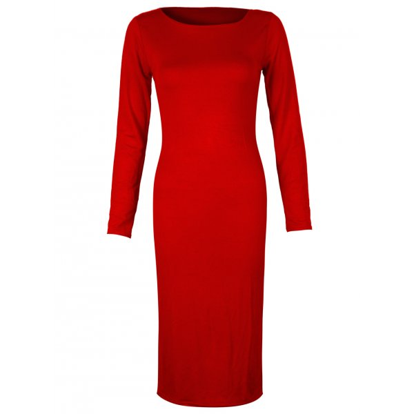 PLAIN JANE KNEE LENGTH DRESS - RED-