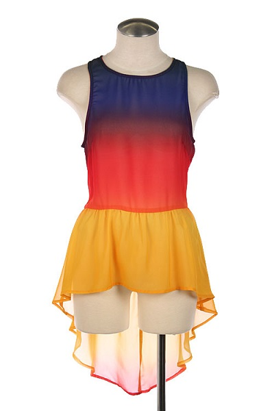 RAINBOW OMBRE PEPLUM TOP - BLUE-