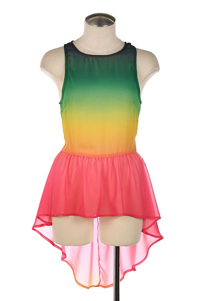 RAINBOW OMBRE PEPLUM TOP - GREEN-