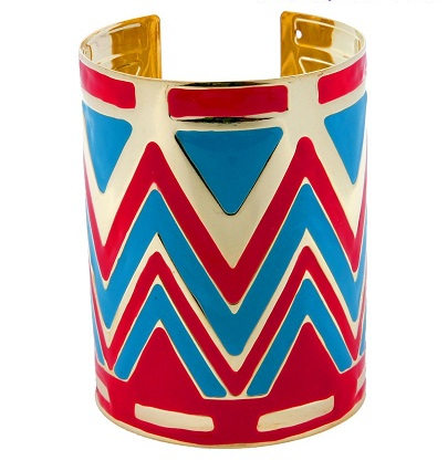 CHEVRON CUFF BANGLE - RED/BLUE/GOLD-