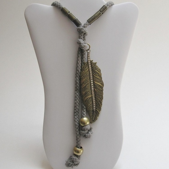 FEATHER ROPE NECKLACE SET-feather necklace