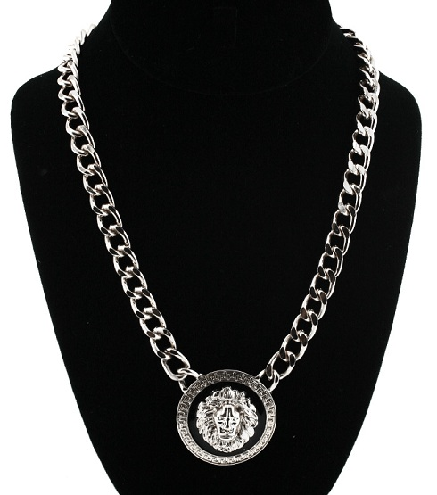 LIONESS NECKLACE - CIRCLE SILVER/BLACK-