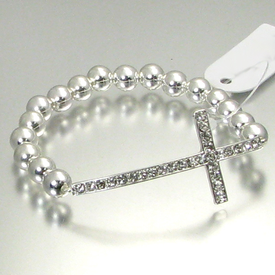 SILVER CROSS BEADED BRACELET-
