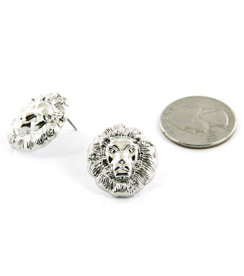 LIONESS EARRINGS - SILVER STUD-
