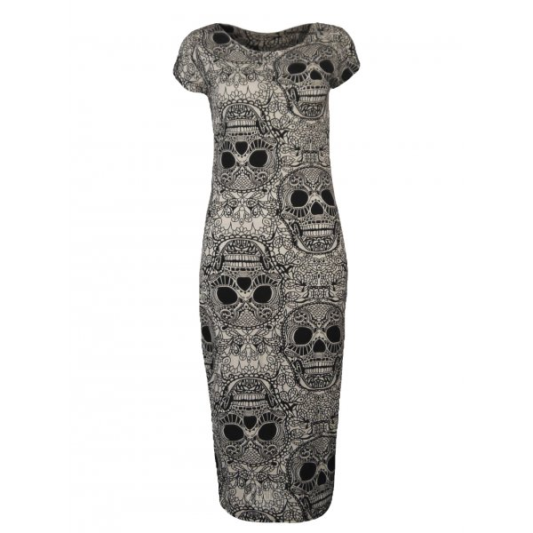 SKULLS PRINT SS KNEE LENGTH DRESS-