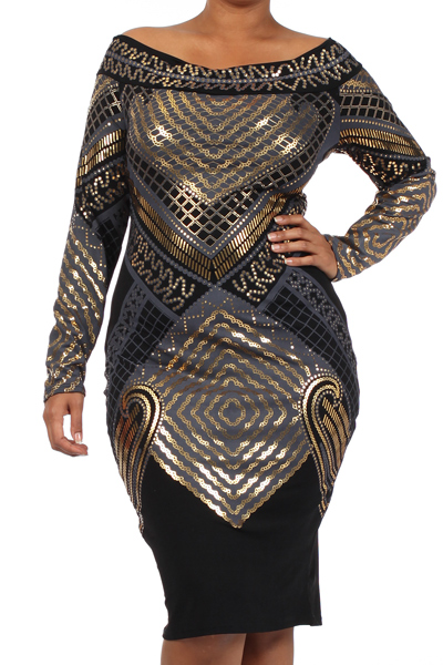 STACIA FOIL PRINT DRESS - BLACK - PLUS SIZE-