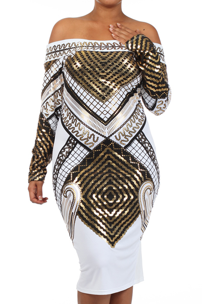 STACIA FOIL PRINT DRESS - WHITE - PLUS SIZE-