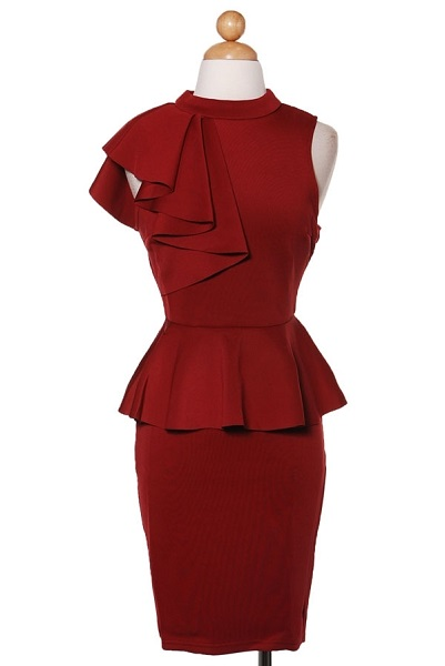 TAYLOR PEPLUM DRESS - BURGUNDY-