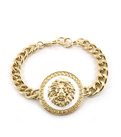CIRCLE GOLD/WHITELIONESS CHAINLINK BRACELET-