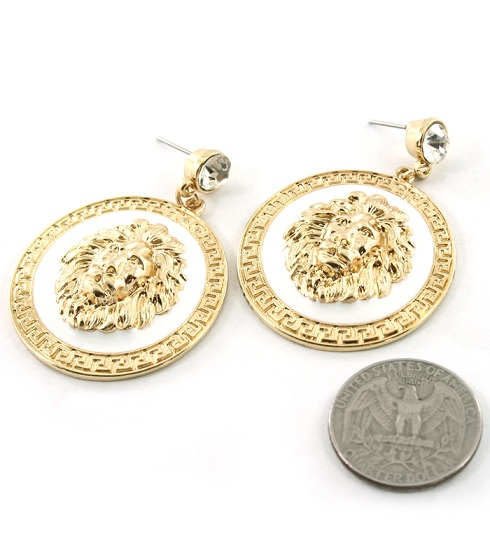LIONESS EARRINGS - CIRCLE GOLD/WHITE-