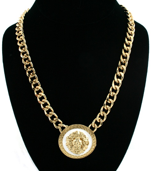 LIONESS NECKLACE - CIRCLE GOLD/WHITE-
