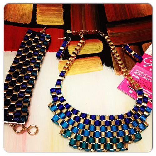WOVEN JEWELRY SET - BLUE/GOLD-