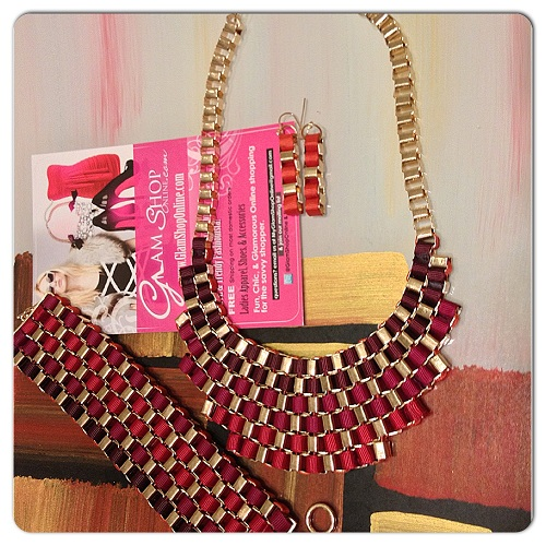 WOVEN JEWELRY SET - RED/GOLD-