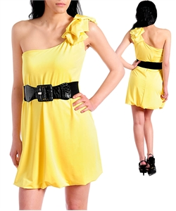 YELLOW DRESS WITH BLACK BELT-yellow, black, dress, belt
